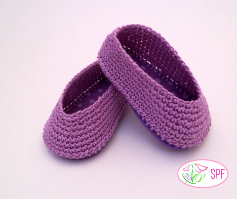 "Paloma Crocheted Ballet Flats 18"" Doll Crochet Pattern"