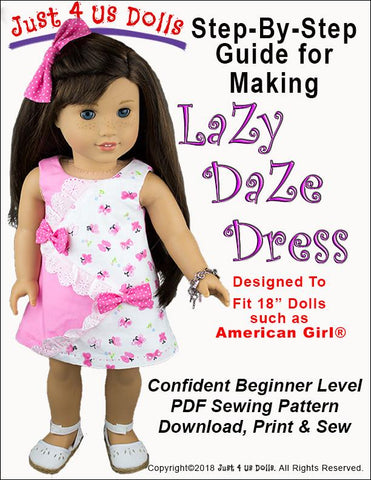"Just 4 Us Dolls 18 Inch Modern Lazy Daze Dress 18"" Doll Clothes Pattern Pixie Faire"