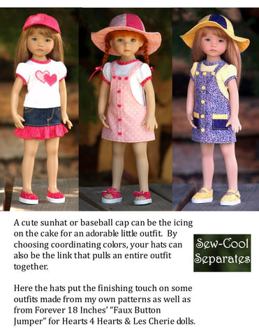 Sew Cool Separates Little Darling Happy Hats Pattern for Little Darling Dolls Pixie Faire