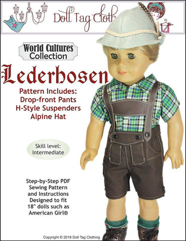 "Doll Tag Clothing 18 Inch Historical Lederhosen 18"" Doll Clothes Pattern Pixie Faire"