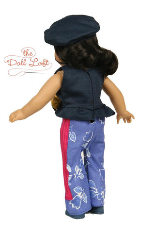 "Left Bank Cafe Top and Pants 18"" Doll Clothes Pattern"