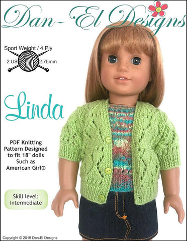 "Linda Twin Set Sweater 18"" Doll Knitting Pattern"