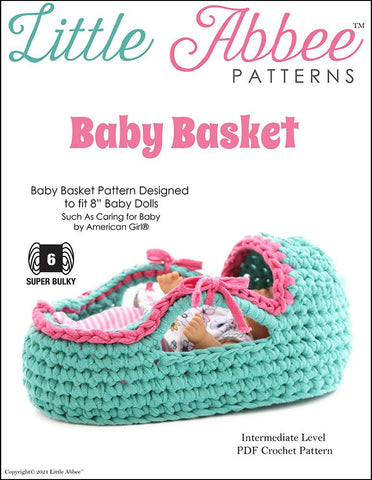 "Little Abbee Crochet Baby Basket Crochet Pattern for 8"" Baby Dolls Pixie Faire"
