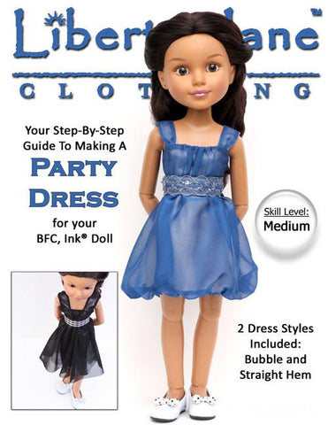 Liberty Jane BFC Ink Aspen Party Dress Pattern for BFC, Ink. Dolls Pixie Faire