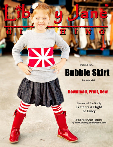 Liberty Jane Girl doll matching bubble skirt pdf pattern