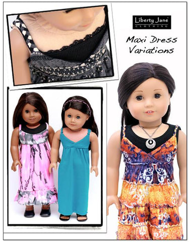 "Maxi Dress 18"" Doll Clothes Pattern"