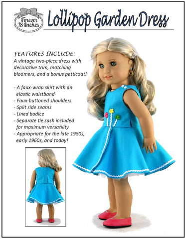 "Lollipop Garden Dress 18"" Doll Clothes Pattern"