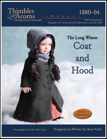 "Thimbles and Acorns 18 Inch Historical The Long Winter Coat and Hood 18"" Doll Clothes Pattern Pixie Faire"