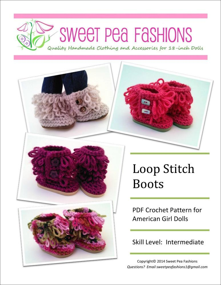 Sweet Pea Fashions Loop Stitch Crocheted Boots Doll Clothes Pattern