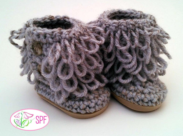 Sweet Pea Fashions Loop Stitch Crocheted Boots Doll