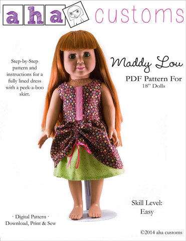 "Aha Customs 18 Inch Modern Maddy Lou Dress 18"" Doll Clothes Pattern Pixie Faire"