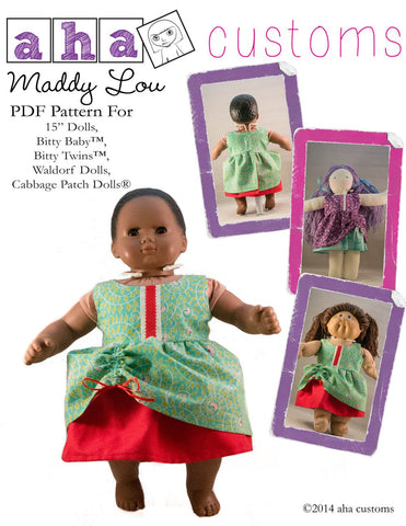 "Maddy Lou Dress 15"" Doll Clothes Pattern"