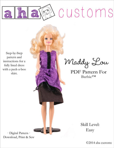 "Aha Customs Barbie Maddy Lou Dress Pattern for 11 1/2"" Fashion Dolls Pixie Faire"