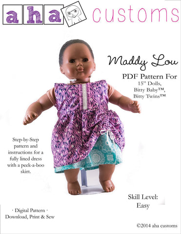 "Aha Customs Bitty Baby/Twin Maddy Lou Dress 15"" Baby Doll Clothes Pattern Pixie Faire"