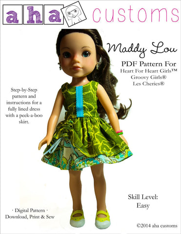 Aha Customs H4H/Les Cheries Maddy Lou Dress Pattern for Les Cheries and Hearts for Hearts Girls Dolls Pixie Faire