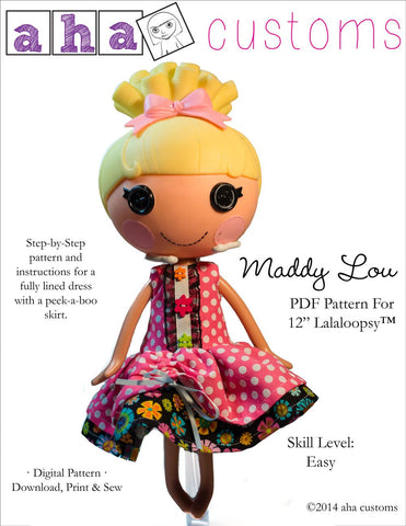 Aha Customs Lalaloopsy Maddy Lou Dress Pattern for Lalaloopsy Dolls Pixie Faire