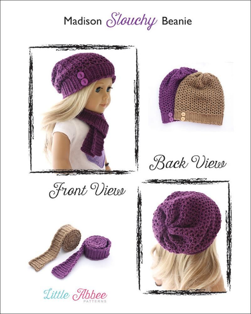 Little Abbee Madison Slouchy Beanie and Scarf Doll Clothes Pattern ...