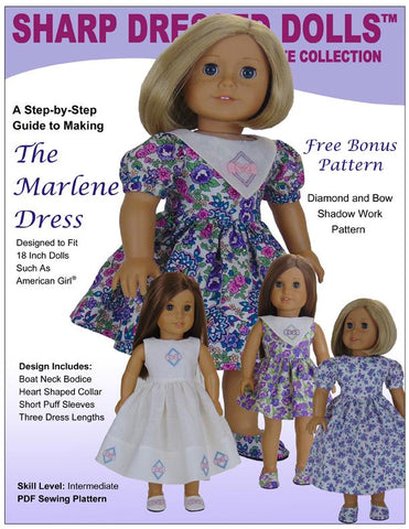 "Sharp Dressed Dolls 18 Inch Modern The Marlene Dress 18"" Doll Clothes Pattern Pixie Faire"