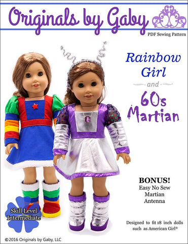 "Originals by Gaby 18 Inch Historical 60s Martian & Rainbow Girl 18"" Doll Clothes Pixie Faire"