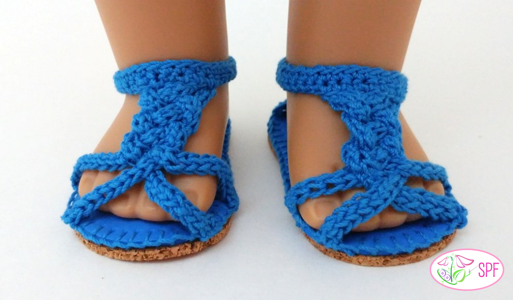 Martina Crocheted Braided Sandals Doll Clothes Pattern 18 Inch