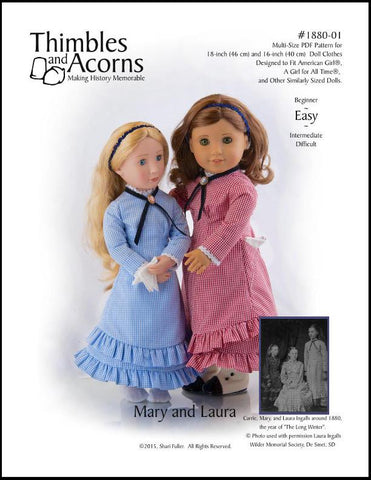 "1880 Mary and Laura 16"" and 18"" Doll Clothes Pattern"