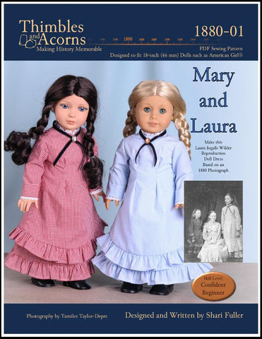 "1880 Mary and Laura 18"" Doll Clothes Pattern"