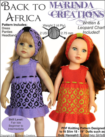 "Marinda Creations Gotz 19 Inch Back To Africa SLIM 18-19"" Doll Clothes Knitting Pattern Pixie Faire"