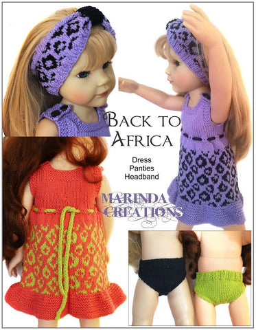 "Back To Africa SLIM 18-19"" Doll Clothes Knitting Pattern"