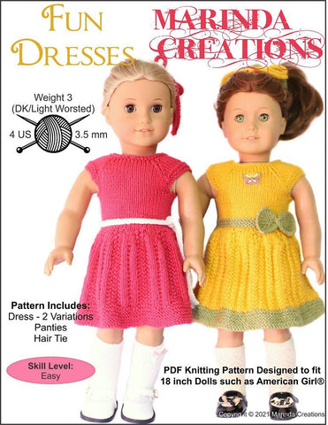 "Marinda Creations Knitting Fun Dresses 18"" Doll Knitting Pattern Pixie Faire"