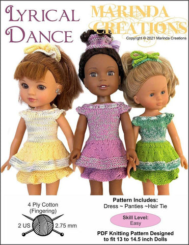 "Lyrical Dance 13-14.5"" Doll Clothes Knitting Pattern"