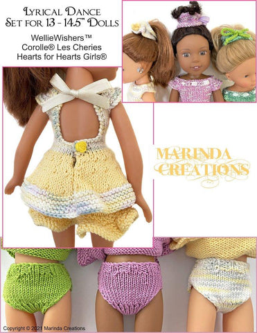 "Marinda Creations WellieWishers Lyrical Dance 13-14.5"" Doll Clothes Knitting Pattern Pixie Faire"