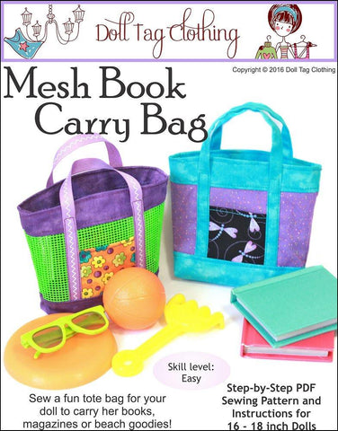"Mesh Book Bag 18"" Doll Accessory Pattern"