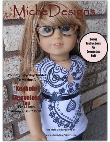 "Keyhole Sleeveless Top 18"" Doll Clothes Pattern"