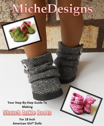 "Slouch Ankle Boots 18"" Doll Shoe Pattern"