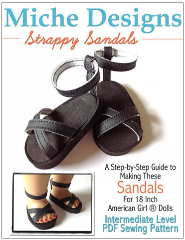 "Strappy Sandals 18"" Doll Shoe Pattern"
