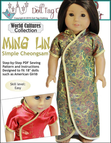 pdf doll clothes sewing pattern doll tag clothing Ming Lin chinese dress designed to fit 18 inch American Girl dolls