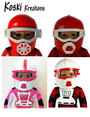 "Motocross Helmet and Goggles 18"" Doll Accessory Pattern"