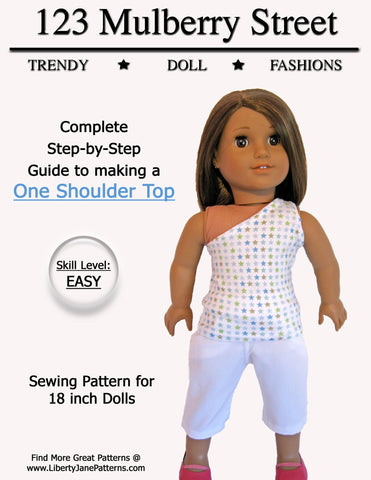 "One Shoulder Top 18"" Doll Clothes Pattern"