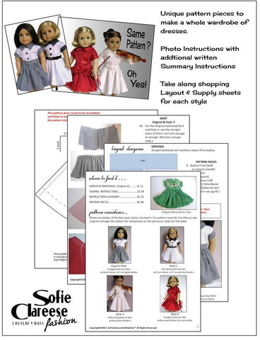 "Sofie's Nana Dress Two 18"" Doll Clothes Pattern"