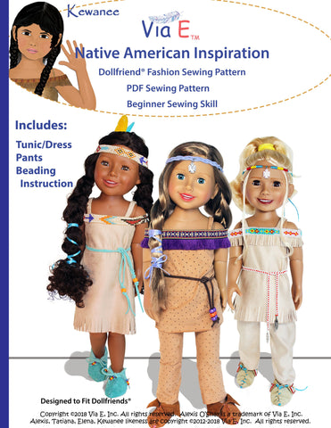 Native American Inspiration Doll Clothes Pattern For Dollfriends