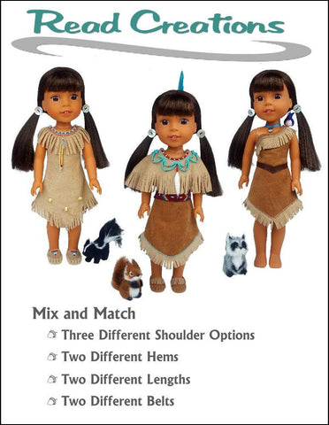"Native American Dress 14.5"" Doll Clothes Pattern"