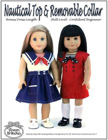 "Forever 18 Inches 18 Inch Modern Nautical Top & Removable Collar 18"" Doll Clothes Pattern Pixie Faire"