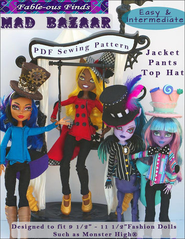 Mad Bazaar Jacket, Pants, and Top Hat Pattern for Monster High Dolls