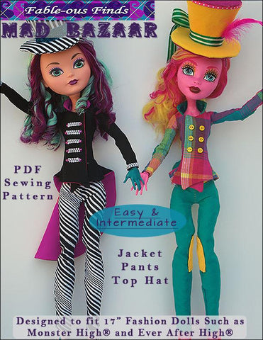 "Mad Bazaar Jacket, Pants, and Top Hat Pattern for 17"" Monster High Dolls"
