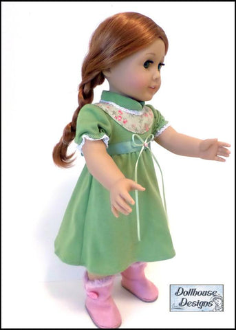"Winter Princess Nightgown 18"" Doll Clothes Pattern"