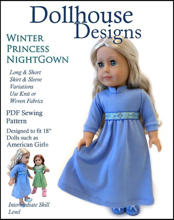 Dollhouse Designs Winter Princess Nightgown Doll Clothes Pattern 18 ...