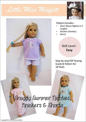 "Snuggly Summer Nighties, Knickers & Shorts 18"" Doll Clothes"