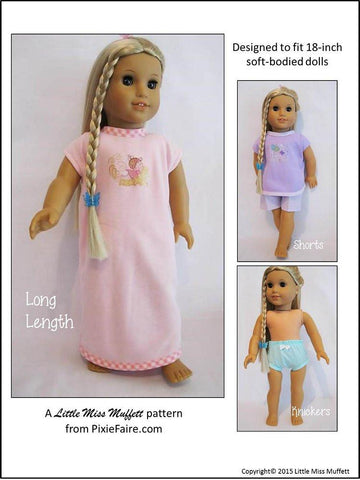 "Snuggly Summer Nighties, Knickers & Shorts 18"" Doll Clothes Pattern"