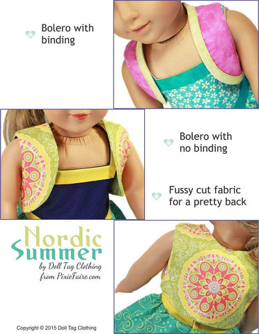 "Nordic Summer 18"" Doll Clothes Pattern"