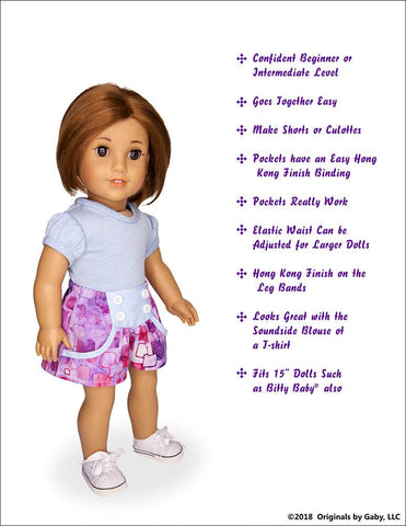 "Bubble Shorts and Culottes 18"" Doll Clothes Pattern"
